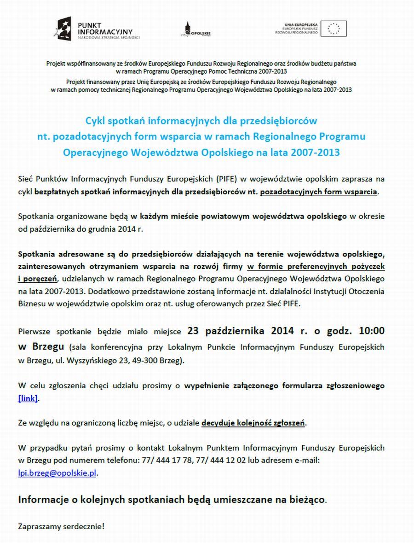 Ogloszenie o spotkaniu dla przedsiebiorcow 23.10.2014r.jpeg